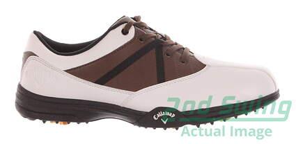 New Mens Golf Shoe Callaway Chev Comfort Medium 8 White/Brown MSRP $60 M171