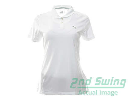 New Womens Puma Pounce Polo Large L Bright White MSRP $50 570526
