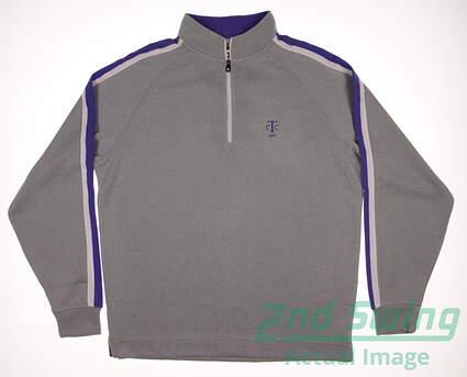 New W/ Logo Mens Footjoy Golf Flat Back Rib 1/2 Zip Pullover Large L Gray MSRP $95