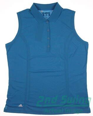 New Womens Adidas Golf Sleeveless Polo X-Large XL Blue MSRP $45