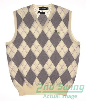 New W/ Logo Mens Ralph Lauren Golf Sweater Vest Medium M Multi MSRP $89