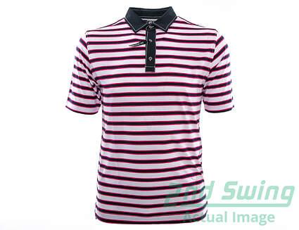 New Mens Footjoy Golf Stretch Lisle Multi Stripe Polo Large L White/Navy/Berry MSRP $72