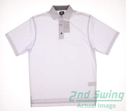 New Mens Footjoy ProDry Lisle Solid Polo Small S White MSRP $65 32906
