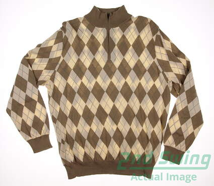 New Mens Ralph Lauren Polo Golf Cotton Argyle 1/4 Zip Sweater Large L Tan MSRP $265 781585512001