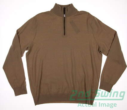 New Mens Ralph Lauren Merino Wool 1/4 Zip Sweater Large L Tan MSRP $185 781585483002