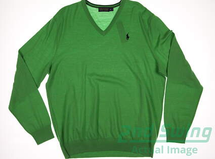 New Mens Ralph Lauren Polo Golf Merino Wool V-Neck Sweater X-Large XL Green MSRP $155 781609169003