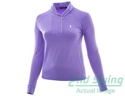 New Womens Ralph Lauren Golf Shawl-Collar1/2 Zip Pullover Large L Purple MSRP $125