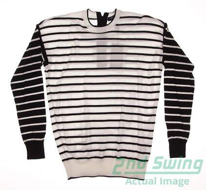 New Womens Ralph Lauren Polo Golf Sweater X-Small XS White / Black Stripe MSRP $165 281590389001
