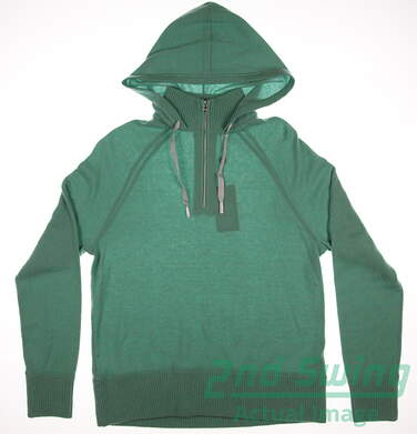 New Womens Ralph Lauren Polo Golf Hooded 1/4 Zip Sweater Cashmere Small S Green MSRP $425 28159057002