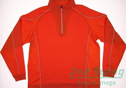 New Mens Footjoy Golf Mixed Texture Sport 1/2 Zip Pullover X-Large XL Orange MSRP $95 92594