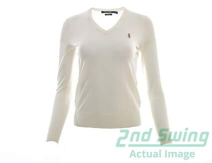 New Womens Ralph Lauren Golf Merino Wool V-Neck Sweater X-Small XS Cream MSRP $145