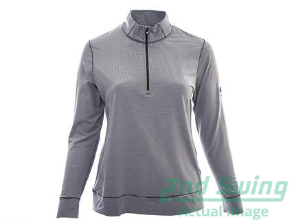 New W/ Logo Womens Footjoy Golf Lightweight Performance Mid Layer1/2 Zip Pullover X-Large XL Gray / White MSRP $95 23452