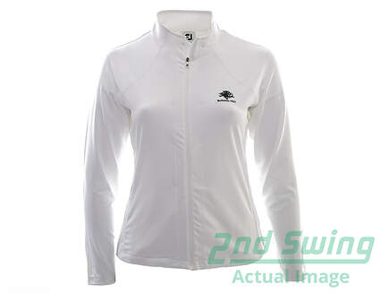 New W/ Logo Youth Footjoy Golf Performance Mid Layer Full Zip Mock Neck Large L White MSRP $85 27151