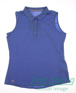 New Womens Adidas Climalite Heather Sleeveless Polo X-Large XL Blue MSRP $50
