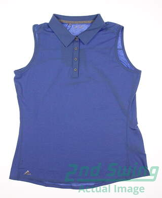 New Womens Adidas Climalite Heather Sleeveless Polo Large L Blue MSRP $50