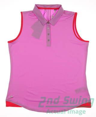 New Womens Adidas Golf Essentials 3-Stripe Sleeveless Polo X-Large XL Pink MSRP $60
