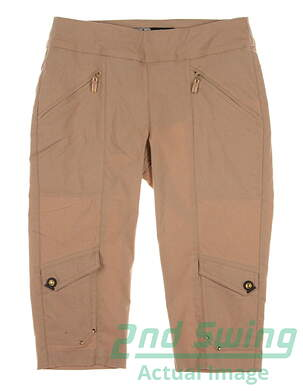 "New Womens Jamie Sadock Golf Skinnylicious 24"" Knee Capris Size 2 Khaki MSRP $110"