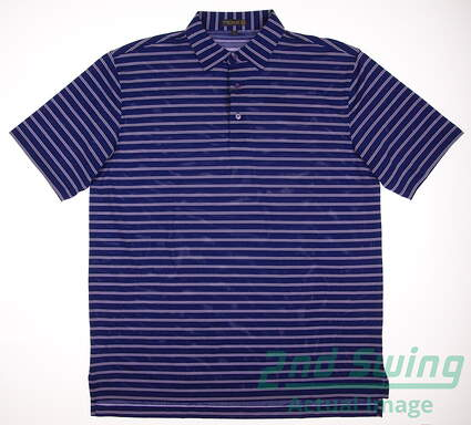 New Mens Peter Millar Stripe Stretch Mesh Polo Large L Blue MSRP $85