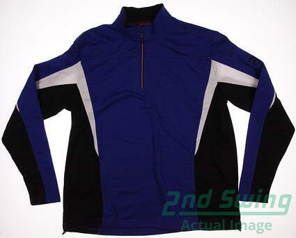 New Mens Mizuno GOlf Warmalite 1/4 Zip Pullover Large L Blue MSRP $90 250166