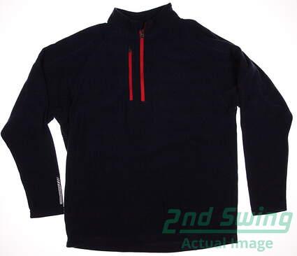 New Mens Sun Mountain Golfleece 1/4 Zip Pullover Medium M Navy Blue MSRP $70 G539038