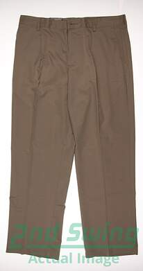 New Mens Adidas GOlf Pleated Tech Pants 34x30 Khaki MSRP $65 X2489