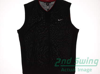 New Mens Nike TW Wool Sweater Vest Large L Black MSRP $140 726232 010