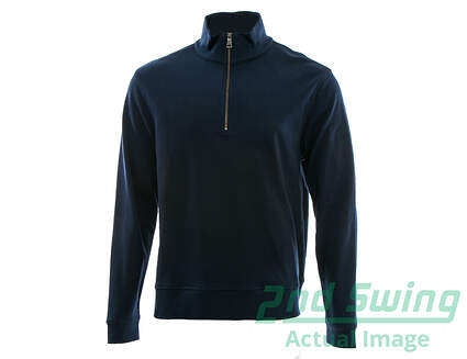 New Mens Dunning Golf 1/4 Zip Sweater Large L Navy Blue MSRP $89 D7F13K500