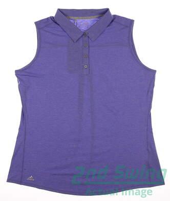 New Womens Adidas Golf Essentials Heather Sleeveless Polo X-Large XL Purple MSRP $50