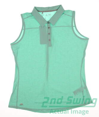 New Womens Adidas Golf Essentials Heather Sleeveless Polo Large L Green MSRP $50