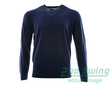 New Mens Mizuno Merino V-Neck Sweater Medium M Navy Blue MSRP $95