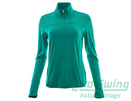 New Womens Adidas Golf Rangewear 1/2 Zip Pullover Jacket Small S Green MSRP $70 AF0018