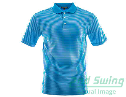 New Mens Peter Millar Golf Competition Stripe Polo Small S Blue MSRP $85