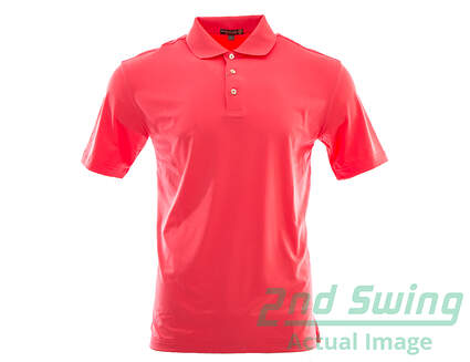 New Mens Peter Millar Golf Solid Stretch Polo Small S Pink MSRP $79