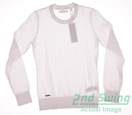New Womens Adidas Golf Crew Sweater Small S White MSRP $90