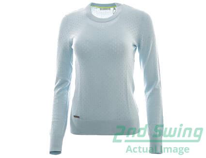 New Womens Adidas Golf Crew Sweater X-Small XS Blue MSRP $90