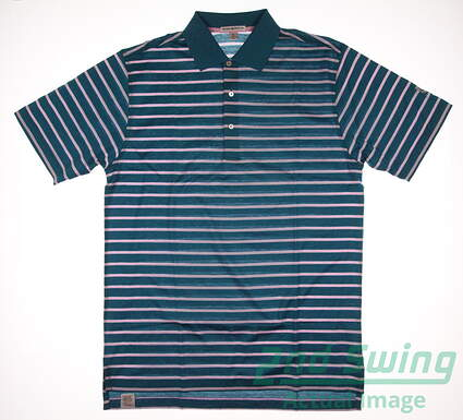 New W/ Logo Mens Peter Millar Tiger Stripe Cotton Golf Polo Medium M Green MSRP $95 MS16K06