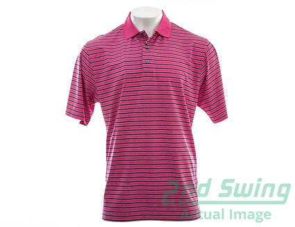 New Mens Footjoy Heather Lisle Multi Stripe Golf Polo Large L Berry/Navy/White MSRP $80