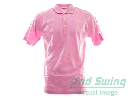 New W/ Logo Mens Peter Millar Golf Solid Cotton Polo Medium M Pink MSRP $95 MC00K01