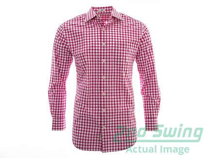 New Mens Peter Millar Golf Melange Tattersall Button Up Sport Shirt Medium M Pink MSRP $145 MF14W20CSL