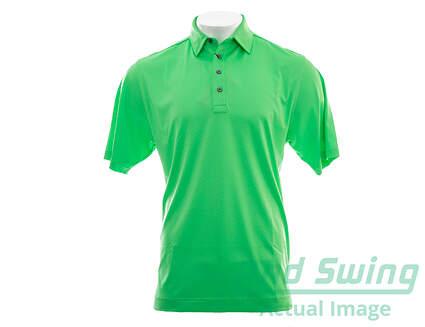 New Mens Footjoy Diamond Textured Jacquard Golf Polo Large L Green MSRP $68
