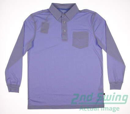 New Mens Straight Down Golf Long Sleeve Polo Medium M Blue MSRP $50