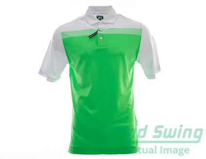 New Mens Footjoy Birdseye Colorblock Pique Golf Polo Large L Green MSRP $75