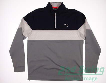 New Mens Puma PWRWARM 1/4 Zip Golf Pullover Medium M Medium Gray Heather/Peacoat MSRP $75
