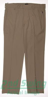 New Mens Adidas Golf Climalite 3-Stripes Pants 34x30 Khaki MSRP $70 B82628