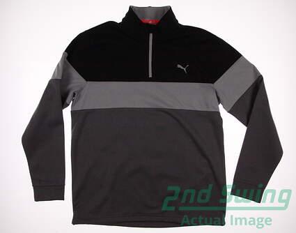 New Mens Puma PWRWARM 1/4 Zip Golf Pullover Medium M Dark Gray Heather/Puma Black MSRP $75