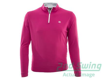 New W/ Logo Mens Peter Millar Golf Perth Performance 1/4 Zip Pullover Large L Pink MSRP $98 MF15EK40
