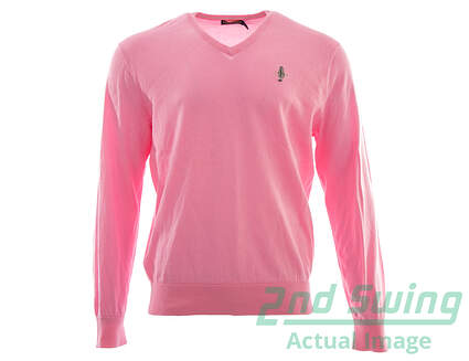 New W/ Logo Mens Ralph Lauren Golf V-Neck Sweater Large L Pink MSRP $110