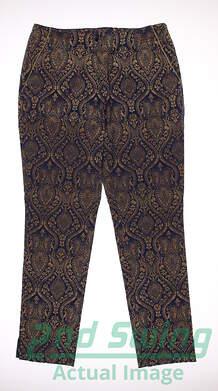 New Womens EP Pro Kings Landing Regal Scroll Print Pants Size 10 Blue / Gold MSRP $98 9241GD