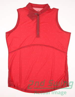 New Womens BETTE & COURT Golf Sleeveless Polo Large L Coral MSRP $60