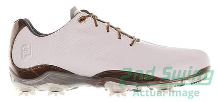 New Mens Golf Shoe Footjoy DNA Medium 9.5 White/Brown MSRP $190 53487